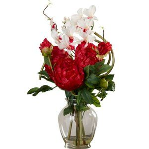 Orchids and Peonies Floral Arrangement in Vase